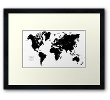 Black & White World Map Framed Print
