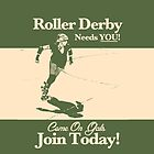 Roller Girl Recruitment iPhone & iPad Case (Retro Green) by John Perlock