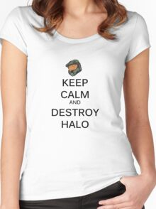 Keep Calm Halo Women's Fitted Scoop T-Shirt