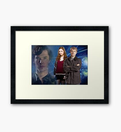 Sherlock,Amy and John Framed Print