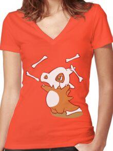 Cubone pokemon dinosaur Women's Fitted V-Neck T-Shirt