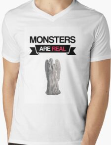 monsters are real (weeping angel version 1) Mens V-Neck T-Shirt