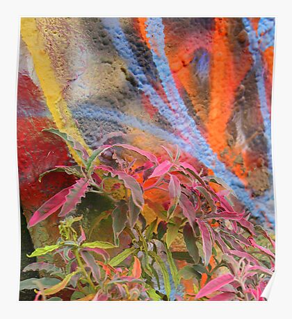 Cadillac Ranch Abstract with Painted Plant Poster