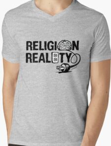 RELIGION not plugged into REALITY Mens V-Neck T-Shirt
