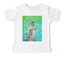 Traditional Watercolor and Ink Lion Statue  Baby Tee
