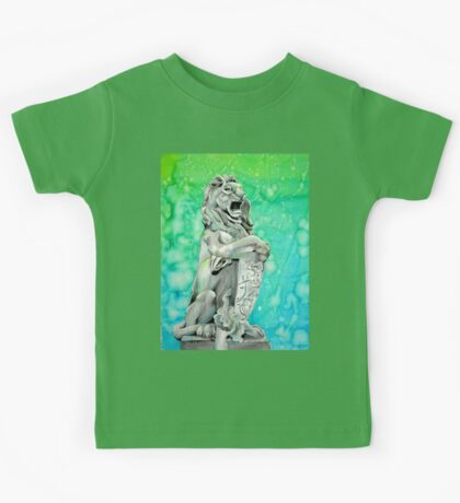 Traditional Watercolor and Ink Lion Statue  Kids Tee