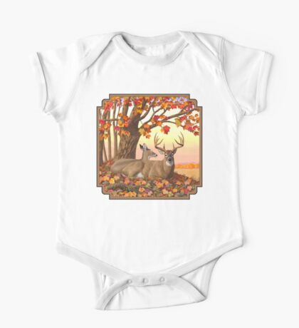 Whitetail Deer Autumn Maple Tree One Piece - Short Sleeve