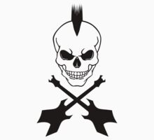 Punk Skull with Crossed Electric Guitars - Black on White by ramiro