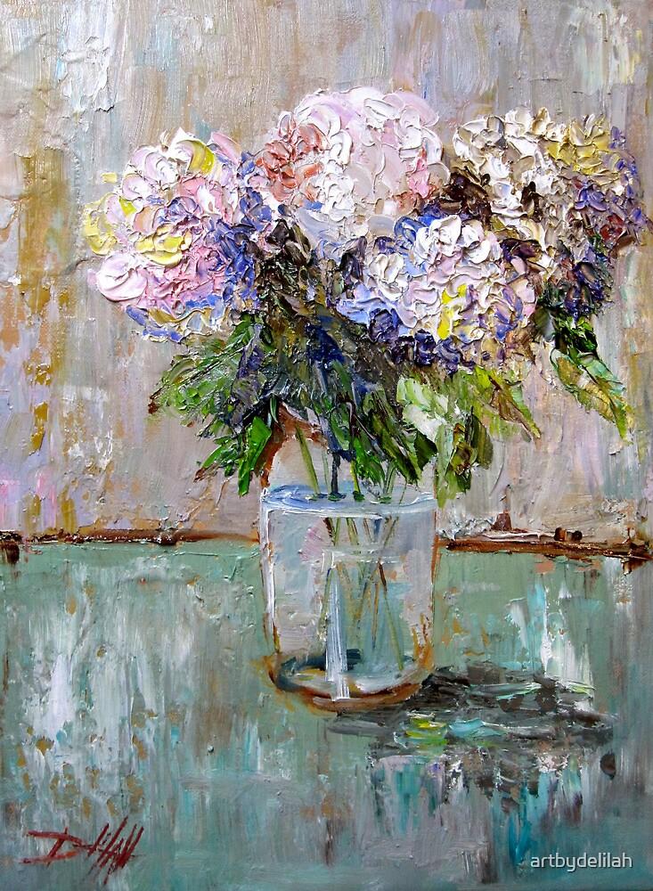 Hydrangea's in a Fruit Jar by artbydelilah