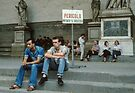 Police enjoying forbidden space on Logia della Signoria Florence Italy 19840708 0056 by Fred Mitchell