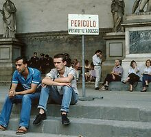 Police enjoying forbidden space on Logia della Signoria Florence Italy 198407080056 by Fred Mitchell