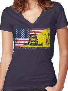American Gadsden Flag Worn Women's Fitted V-Neck T-Shirt