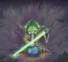 Stoned Yoda - #StarWars #StarWarsTheForce #Cannabis  by jaffrywardjr