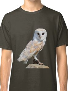 Barn owl on a fence post Classic T-Shirt