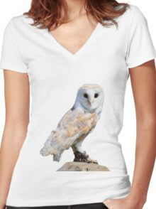 Barn owl on a fence post Women's Fitted V-Neck T-Shirt