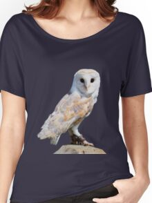 Barn owl on a fence post Women's Relaxed Fit T-Shirt