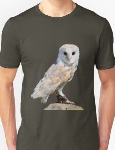 Barn owl on a fence post Unisex T-Shirt