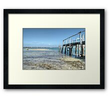 Low tides at the old pier in Montagu Beach - Nassau, The Bahamas Framed Print