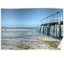 Low tides at the old pier in Montagu Beach - Nassau, The Bahamas Poster