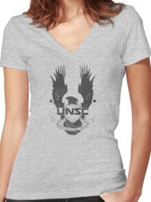 UNSC Logo Grey Women's Fitted V-Neck T-Shirt