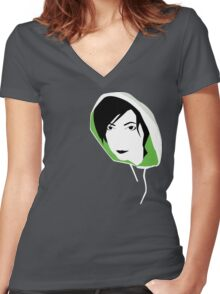hooded stare Women's Fitted V-Neck T-Shirt