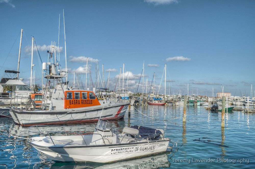 Marina behind Pop's Deck in Nassau, The Bahamas by Jeremy Lavender Photography