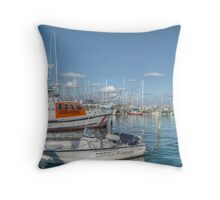 Marina behind Pop's Deck in Nassau, The Bahamas Throw Pillow