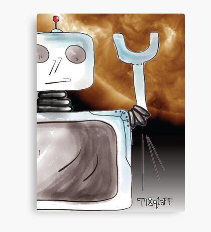Robot Saves the World Canvas Print