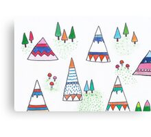 Teepees in the wild Canvas Print
