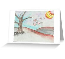 Flying Eyes Under Mouth Moonlight  Greeting Card