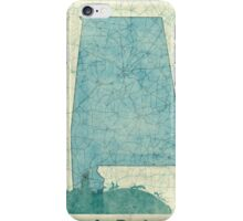 Alabama Map Blue Vintage iPhone Case/Skin