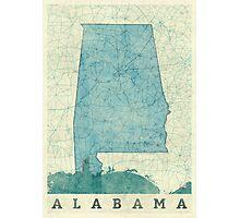 Alabama Map Blue Vintage Photographic Print