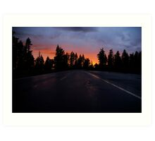 Sunset on the Road to Crater Lake Art Print
