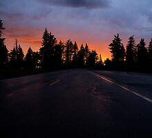 Sunset on the Road to Crater Lake by Lars Gustafson