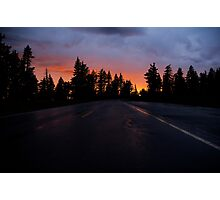 Sunset on the Road to Crater Lake Photographic Print