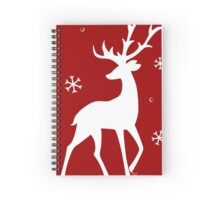 Stylized Reindeer Silhouette (White on red) Spiral Notebook