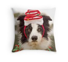 Christmas Collie Throw Pillow