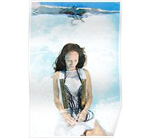 A young woman in white dress floats underwater  Poster