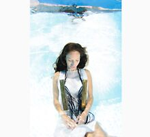 A young woman in white dress floats underwater  Unisex T-Shirt