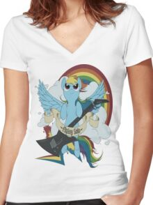 A dashing flying solo! Women's Fitted V-Neck T-Shirt