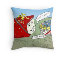 Cyber Monday and Black Friday caricature Throw Pillow