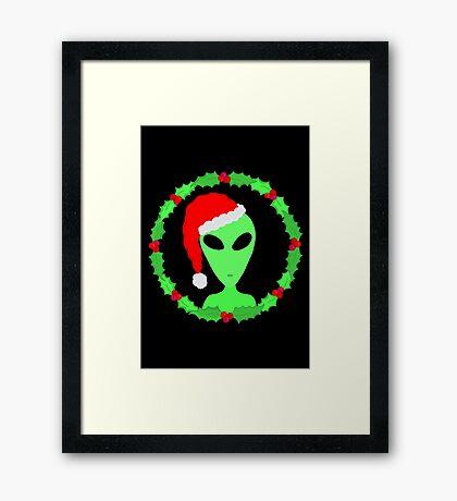 Alien In A Santa Hat Funny Christmas Framed Print