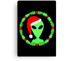 Alien In A Santa Hat Funny Christmas Canvas Print