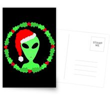 Alien In A Santa Hat Funny Christmas Postcards