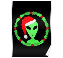 Alien In A Santa Hat Funny Christmas Poster
