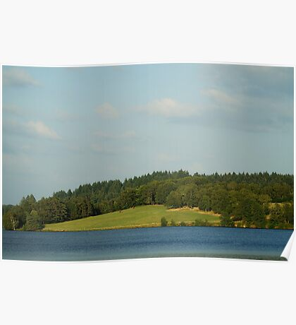 Lake and green hill natural landscape Poster
