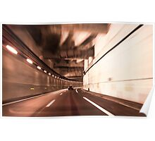 car in a tunnel with movement effect  Poster