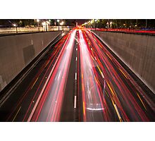 cars driving in the night up the tunnel  Photographic Print