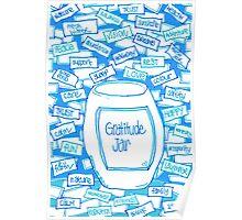 Gratitude Jar (on Blue) Poster