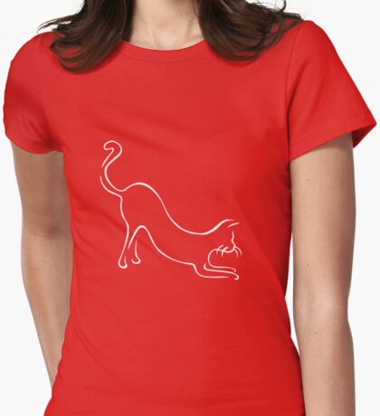 Meow puddy tat - white Womens Fitted T-Shirt